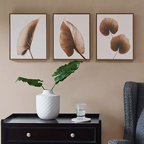 Madison Park Alocasia Leaves Framed Wall Art 3 Piece Set