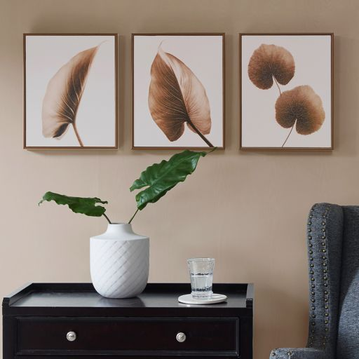 Madison Park Alocasia Leaves Framed Wall Art 3-piece Set