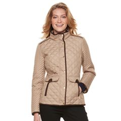 Women's Weathercast Quilted Faux-Suede Trim Barn Jacket