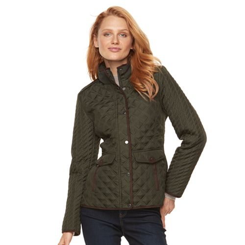 Womens Weathercast Quilted Faux Suede Trim Barn Jacket