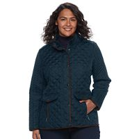 Plus Size Weathercast Quilted Faux-Suede Trim Barn Jacket