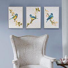 Madison Park Trellis Song Birds Framed Wall Art 3 pc Set