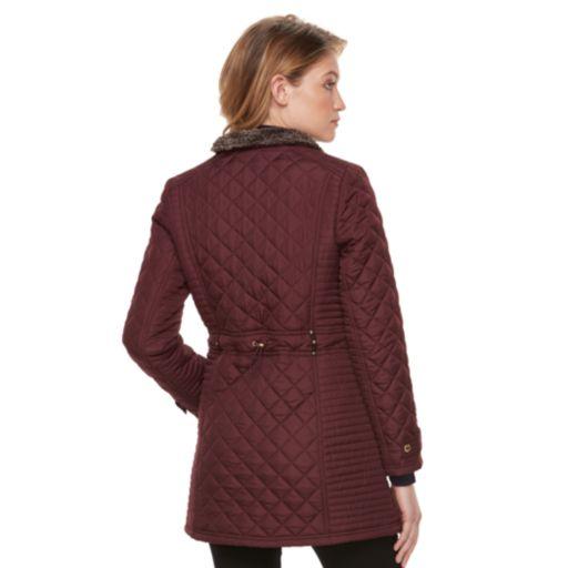 Women's Weathercast Quilted Faux-Fur Trim Jacket