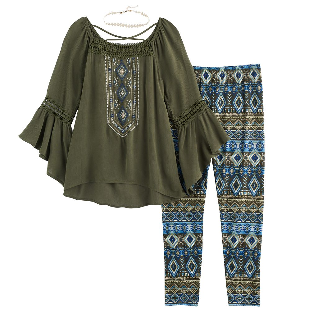 Girls 7-16 Knitworks Embroidered Tunic Top & Patterned Leggings Set with Choker Necklace