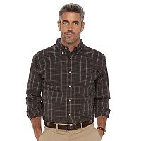 Men's Haggar Classic-Fit Plaid Stretch Poplin Button-Down Shirt