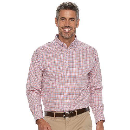 Men's Haggar Classic-Fit Plaid Stretch Poplin Button-Down Shirt