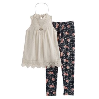 Girls 7-16 Knitworks Swiss Dot Victorian Tunic & Floral Leggings Set with Necklace