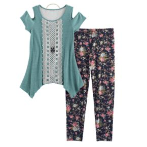 Girls 7-16 Knitworks Ribbed Crochet Lace Cold Shoulder Tunic & Leggings Set with Necklace