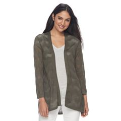 Women's Croft & Barrow® Chevron-Stitch Open Front Cardigan
