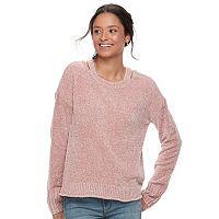 Juniors' Mudd® Chenille Solid Pullover