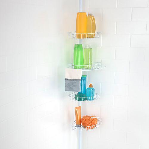 Bath Bliss White 4-Tier Corner Tension Shower Caddy