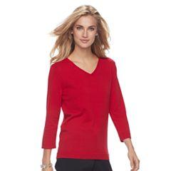 Women's Croft & Barrow® V-Neck Jersey Sweater