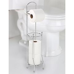 Bath Bliss Chrome Finish Tissue Roll Holder & Storage Stand