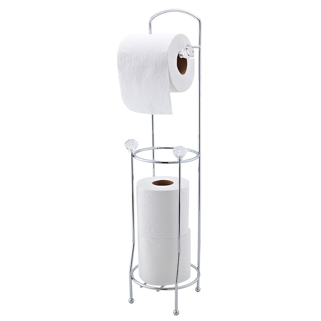 Bath Bliss Faux Crystal Tissue Roll Holder & Storage Stand