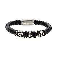 FOCUS FOR MEN Stainless Steel & Leather Men's Lion's Head Bracelet