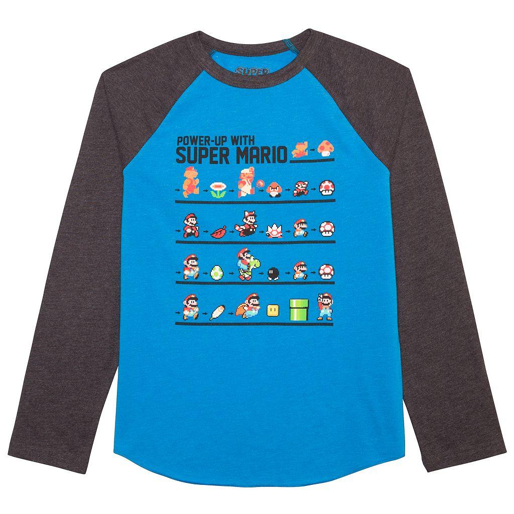 Boys 8-20 Super Mario Bros. Raglan Tee