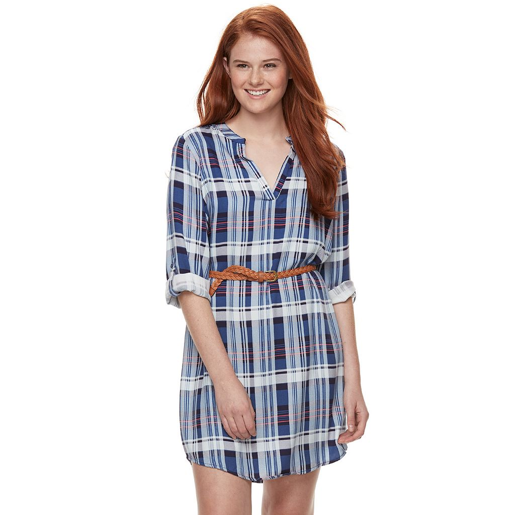 Juniors' Almost Famous Roll-Tab Shirt Dress