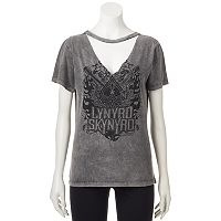 Juniors' Lynyrd Skynyrd Choker Neck Graphic Tee
