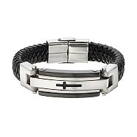 FOCUS FOR MEN Stainless Steel & Leather Men's Cross Bracelet