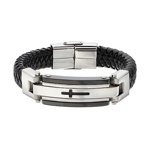 FOCUS FOR MEN Stainless Steel & Leather Men's Cross Bracelet