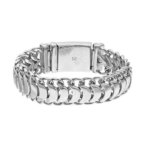 FOCUS FOR MEN Stainless Steel Men's Polished Link Bracelet