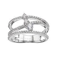 Fleur Silver Tone Cubic Zirconia Crossover Ring