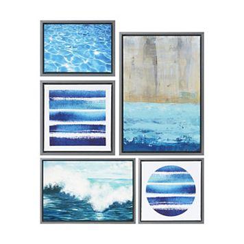 Madison Park Water Tide Framed Canvas Wall Art 5-piece Set