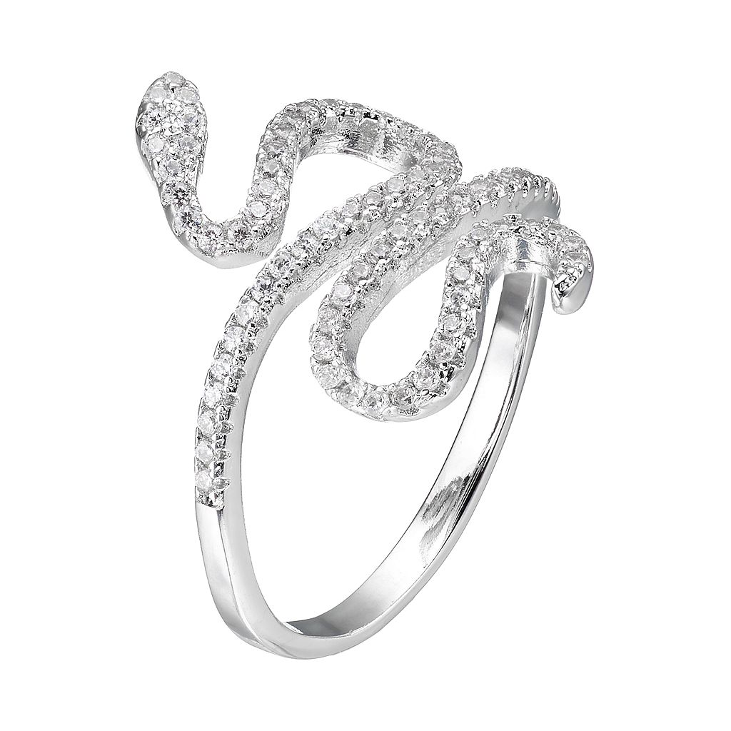 Fleur Silver Tone Cubic Zirconia Snake Ring