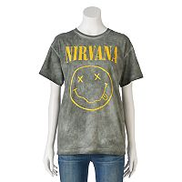Juniors' Nirvana Smiley Face Graphic Tee
