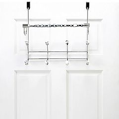 Bath Bliss Faux Marble Over The Door Towel Bar & 8-Hook Rack