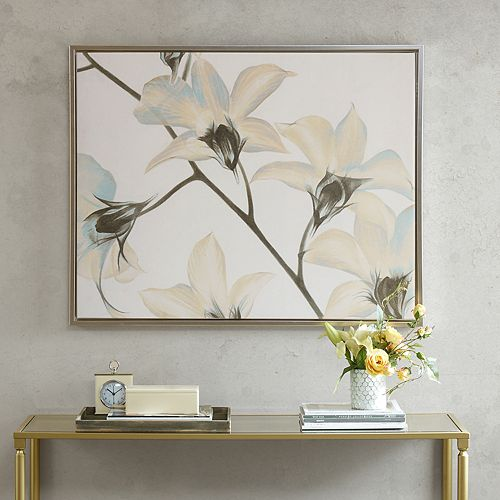 Madison Park Signature White Lilies Framed Canvas Wall Art