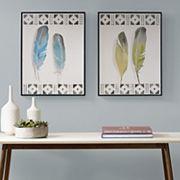 Urban Habitat Windfall Feathers Framed Wall Art 2 pc Set