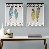 Urban Habitat Windfall Feathers Framed Wall Art 2 pc Set