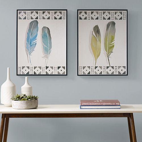 Urban Habitat Windfall Feathers Framed Wall Art 2-piece Set