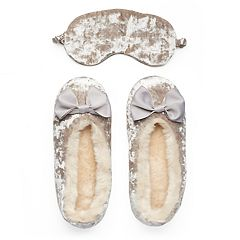 LC Lauren Conrad Bow Accent Plush Ballet Slippers with Sleep Mask