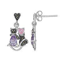 Tori Hill Sterling Silver Cubic Zirconia & Marcasite Cat Drop Earrings