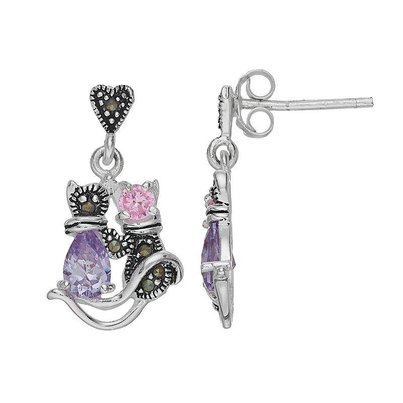 Tori Hill Sterling Silver Cubic Zirconia & Marcasite Cat Drop Earrings. Women's. Purple