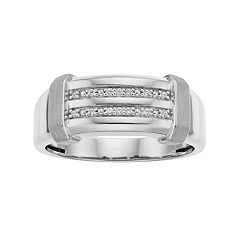 Men's 10k White Gold Diamond Accent Channel Ring