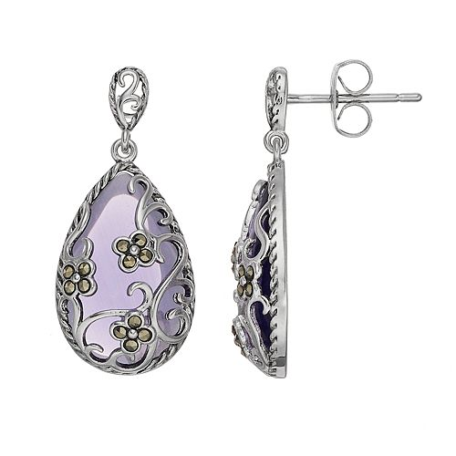 Tori Hill Purple Glass & Marcasite Teardrop Earrings