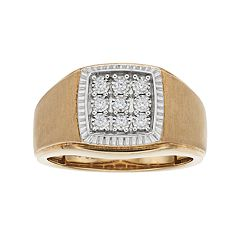 Men's 10k Gold 1/10 Carat T.W. Diamond Cluster Ring
