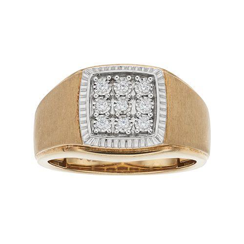 Men's 10k Gold 1/10 Carat T.W. Diamond Cluster Ring