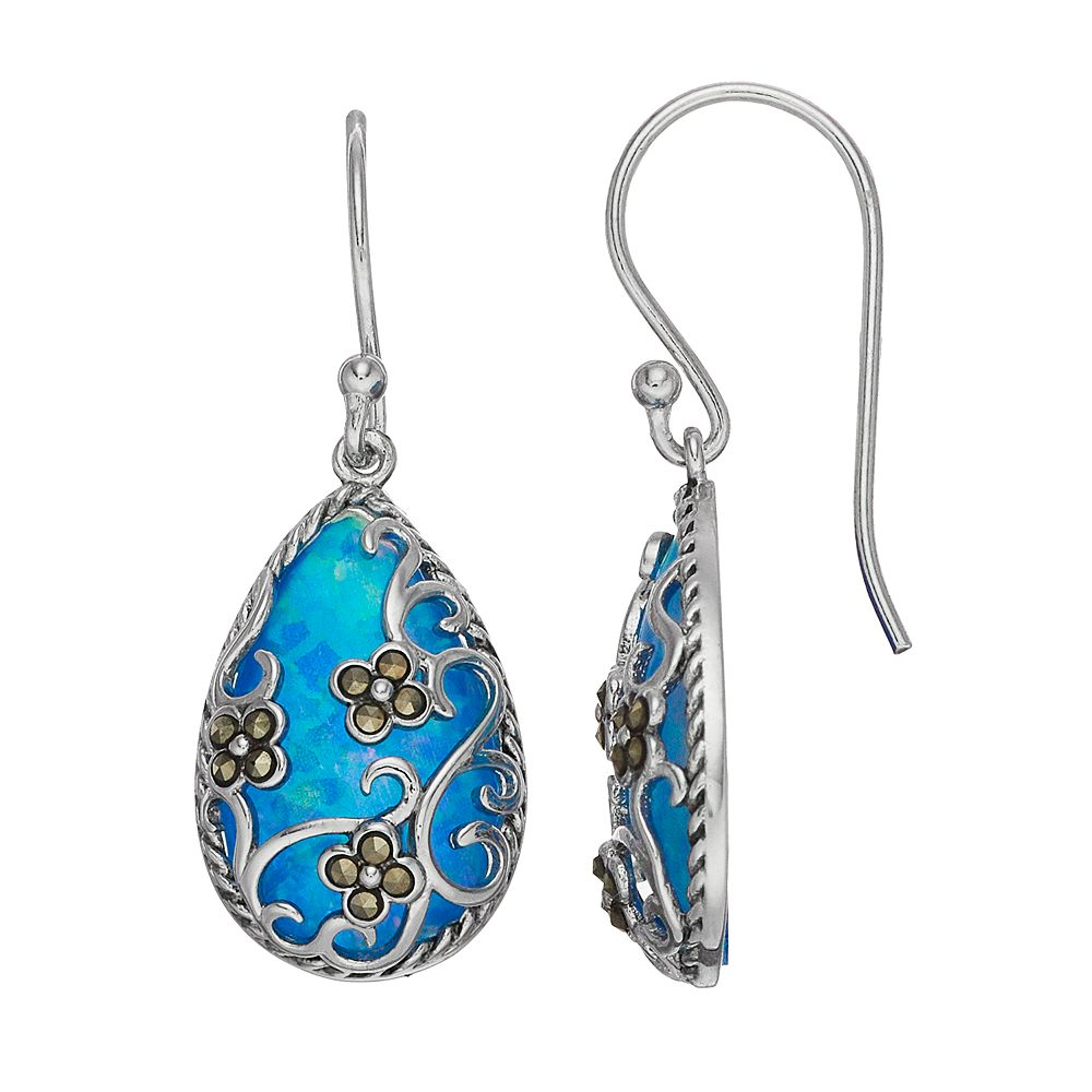 Tori Hill Simulated Blue Opal & Marcasite Teardrop Earrings