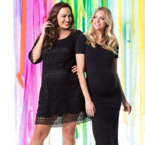Plus Size Maternity Pip & Vine by Rosie Pope Lace Shift Dress
