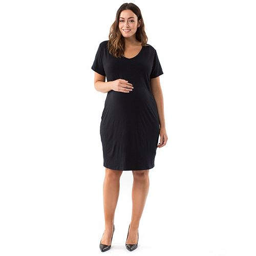 Plus Size Maternity Pip & Vine by Rosie Pope Ruched T-Shirt Dress
