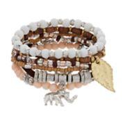 Mudd® Bead & Elephant Charm Stretch Bracelet Set
