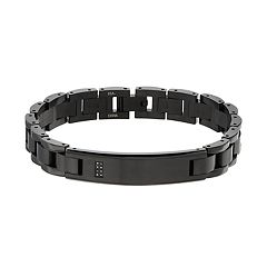 Men's Black Stainless Steel Black Diamond Accent Link Bracelet