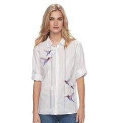 Women's Croft & Barrow® Embroidered Striped Shirt