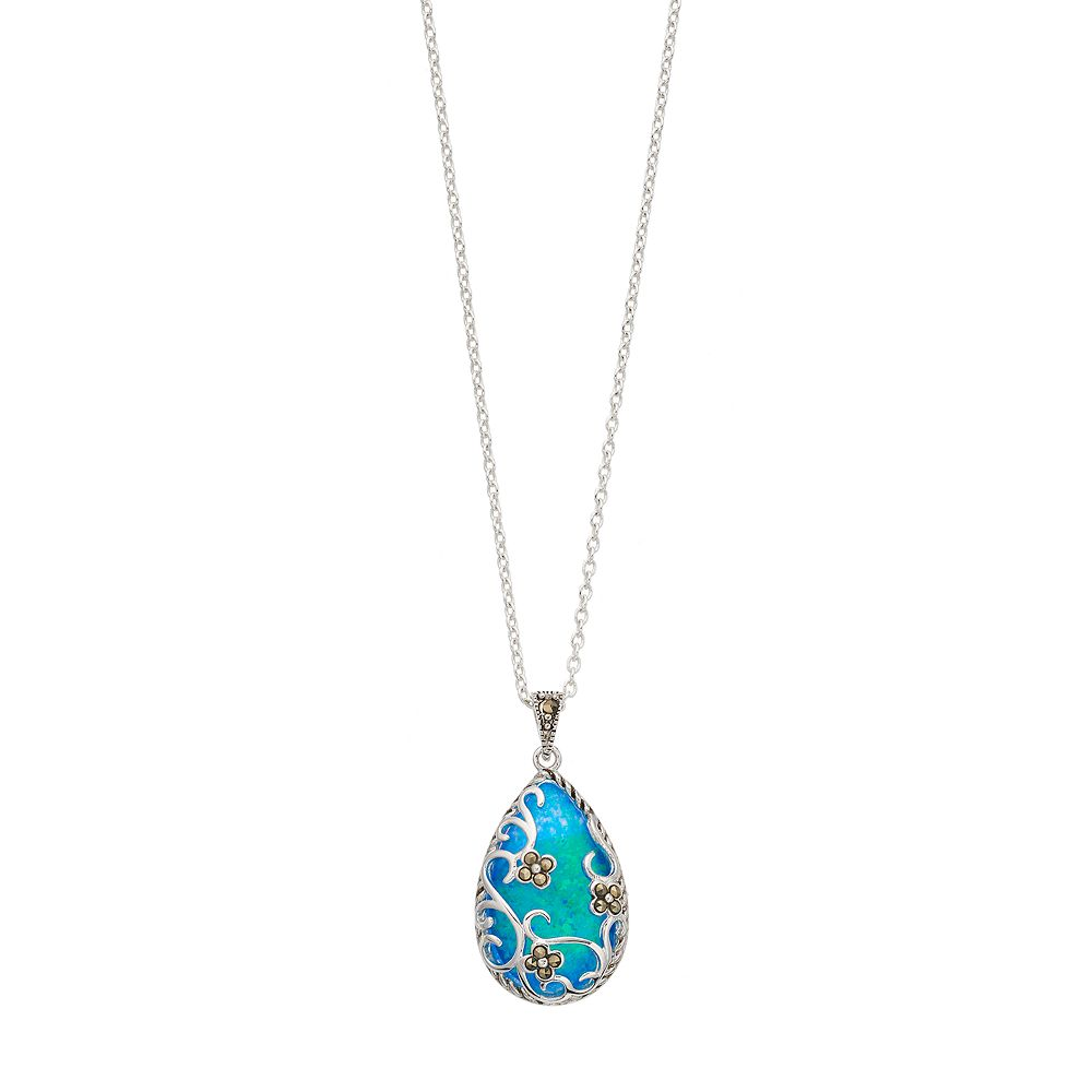 Tori Hill Simulated Blue Opal & Marcasite Filigree Flower Teardrop Pendant