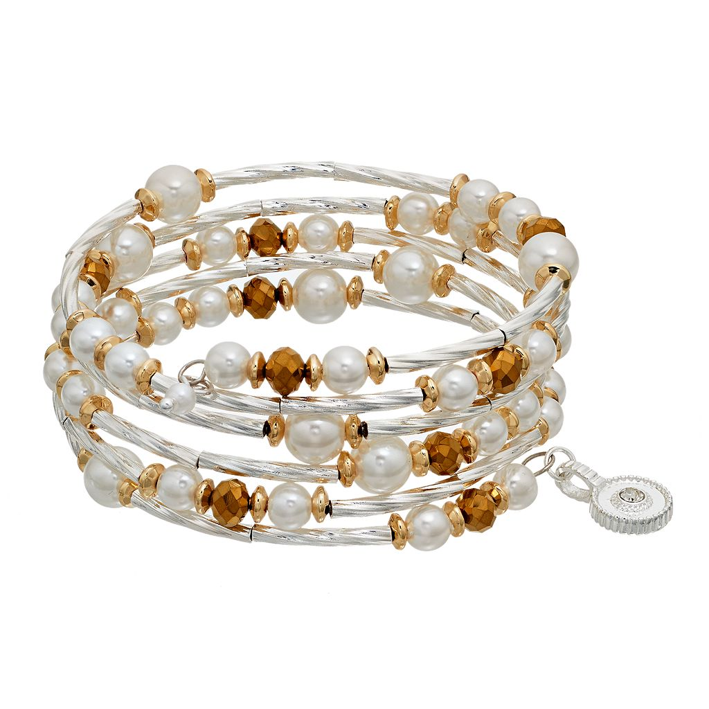 Jennifer Lopez Simulated Pearl Beaded Coil Bracelet