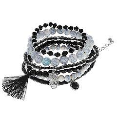Mudd® Tassel, Owl Charm & Bead Stretch Bracelet Set